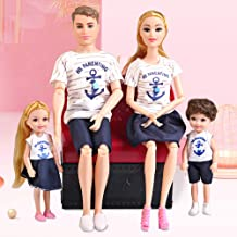 UCanaan Fashion Doll Family Dolls Set of 4 People with Dad ,Mom and 11 Accessories for Education and Birthday Children's Day Gift