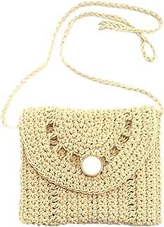TENDYCOCO Straw Shoulder Bag Straw Weave Women Crossbody Handmade Straw Crossbody Bag Summer Beach Envelope Purse Wallet