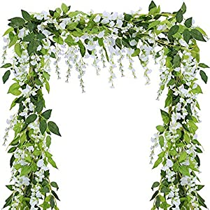 4pcs Artificial Flowers Wisteria Garland Vine Rattan Silk Flower Hanging for Home Garden Ceremony Wedding Floral Decor (White)