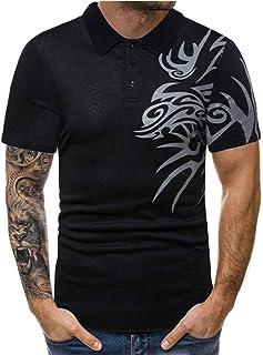 b073004cd40f4 Men s Printed T Shirt Summer Casual Sport Lapel Short Sleeve Button Blouse  Top