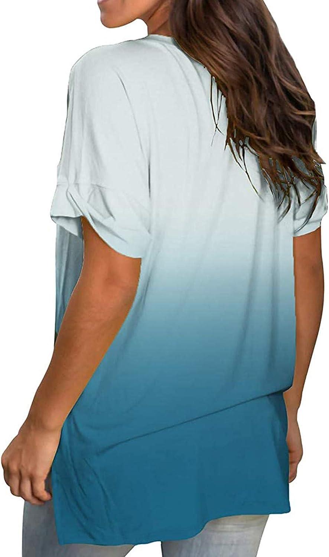 AODONG Womens Short Sleeve Tops, Crop Tops for Women Women Plus Size Tee Tops Summer Casual Print Tops Short Sleeve T-Shirts Blouse Outwear Sport Shirt Light Blue