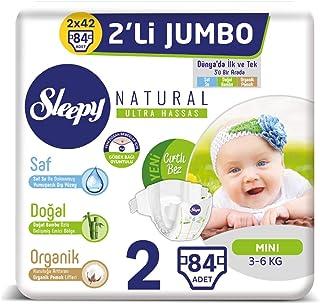 Sleepy Natural 2'li Jumbo Bebek Bezi, 2 Beden, Mini, 84 Adet