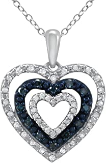 Triple Heart Pendant for Girls in 925 Sterling Silver Real Diamond Necklace for Women (I-J Color, I2-I3 Clarity) Treated Blue Diamonds Jewelry by Pipa Bella