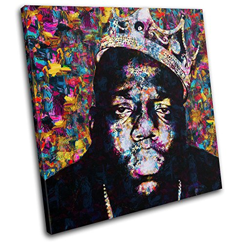 Bold Bloc Design - Notorious Big Biggie Iconic Celebrities 40x40cm Single Canvas Art Print Box Framed Picture Wall Hanging - Hand Made in The UK - Framed and Ready to Hang