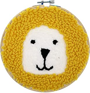 Wool Queen Lion Punch Needle Starter Kit | Animal Rug-Punch Beginner Kit, with an Adjustable Embroidery Pen and 7.9'' Bamboo Hoop (Lion-Y)