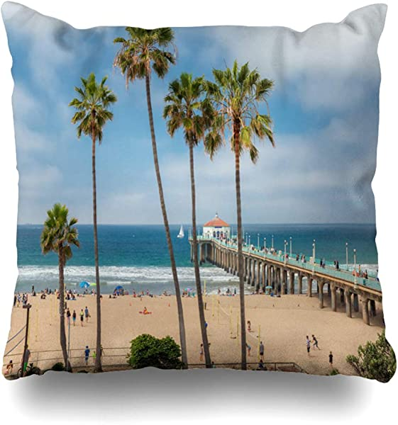 DIYCow Throw Pillows Covers Travel Manhattan Beach Pier Day Vacation Time Southern Nature Parks Outdoor Island Cushion Case Pillowcase Home Sofa Couch Square Size 16 X 16 Inches Pillowslips