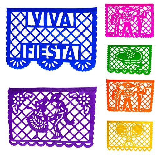 TexMex Fun Stuff Viva Mexico! Fiesta Papel Picado Banner 2 Pack- Paper (33 Feet) Medium Size Rainbow Party Streamer