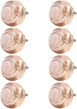 Indian-Shelf Handmade Glass Sall Rose Drawer Knobs Kitchen Pulls Cupboard Handles(Pink, 1.5 Inches)-Pack of 8