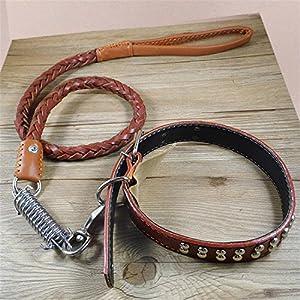 Petkuguo Cuir véritable Grande Laisse Mode Big Laisse de Chien Combinaison Chaîne réglable Traction Corde Collier pour animal domestique Harnais