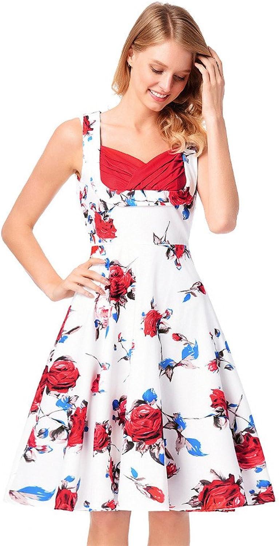 SJMM U Collar Retro, high Waist Dress, Vest Skirt, Sleeveless Printed Dress.