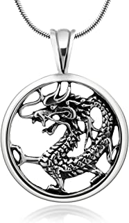 925 Oxidized Sterling Silver Detailed Dragon Luck Wisdom and Longevity Pendant Necklace, 18 inches