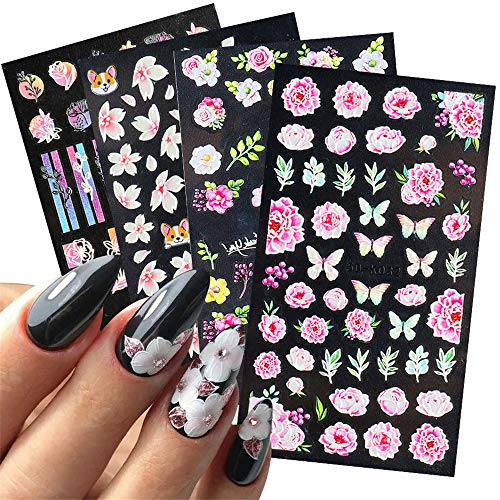Dornail 8 Sheets 5D Stereoscopic Embossed Nail Stickers Butterfly Nail Art Accessories Lace Flowers Nail Decals Spring Summer Nail Decorations