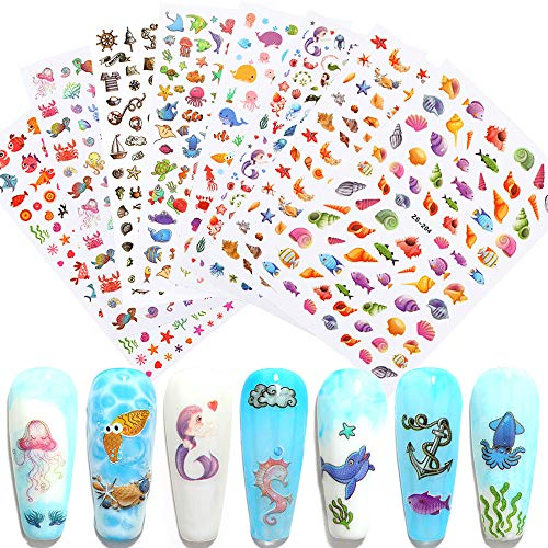 Macute Nail Stickers for Kids, 8 Sheets Cartoon Nail Art Stickers 3D Adhesive Nail Decals Ocean Animal Starfish Shell Mermaid Manicure Tips Accessory Stickers for Kids and Little Girls Nail Art Decor