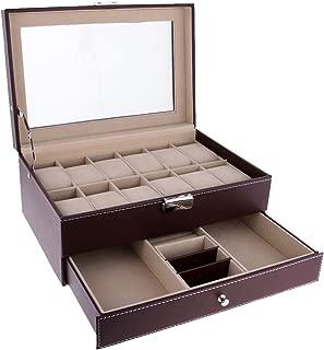FITYLE 12 Slots Watch Bracelet Box Leather Display Top Glass Watch Jewelry Storage Case - Brown