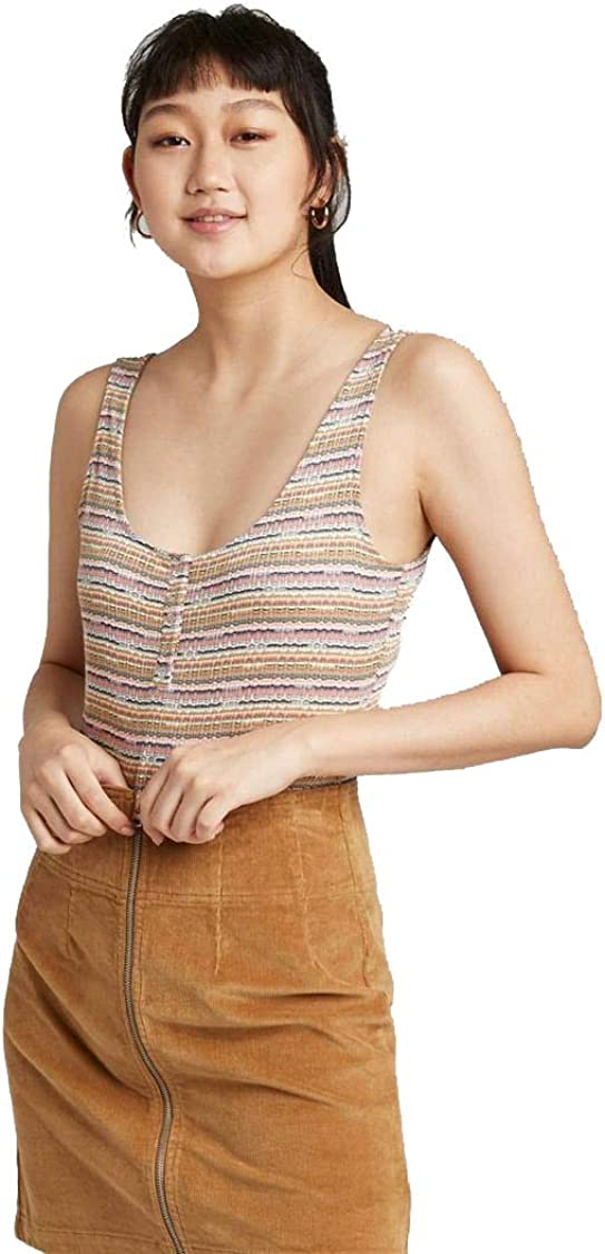 Wild Fable Women's Striped Snap Placket Bodysuit (Pink/Olive, XXL)