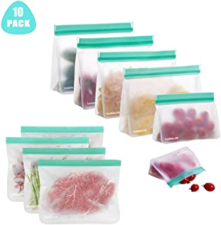 Reusable Storage Food Bags 10 Pack Leakproof Zip lock Bag (4 Sandwich Bag+4 Freezer Bags+2 Snack Bags), BPA Free Reusable Bag for Kids Food Snacks Fruits Lunch Sandwiches Travel Make Up Home Storage