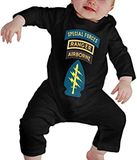 HOUFOUCC Special Forces with Airborne and Ranger Tab Patch Baby Onesie Organic Long-Sleeve Bodysuit