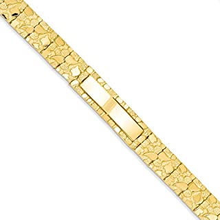 14k Yellow Gold Solid Polished Fold-over Not engraveable 12.0mm Nugget ID Bracelet - Box Clasp - Length Options: 18 20