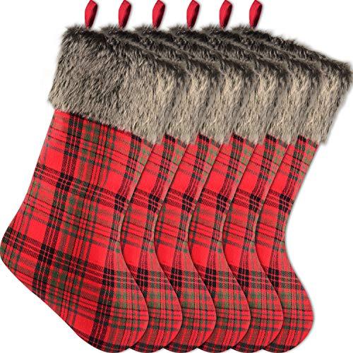 Sunshane 6er Weihnachtsstrumpf, 46cm Hängende Strümpfe zum Befüllen und Aufhängen mit Plüsch Kunstpelz Manschette für Weihnachtsdeko, Plaid
