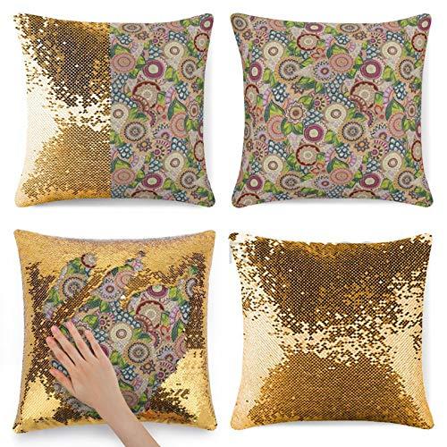 Funda de almohada con lentejuelas, fondo batik pastel batik con flor y hoja en forma de mezcla y boho, funda de almohada multicolor con lentejuelas de sirena, cojín mágico reversible con lentejuelas