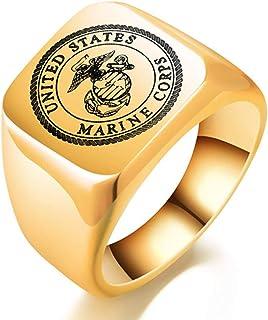 JAJAFOOK Men US Marine Corps Insignia Ring Military Gift Veteran Ring