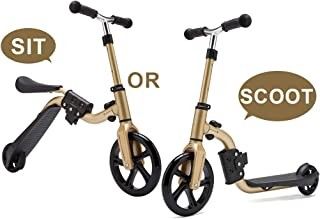 KAMURES 2-in-1   2 Wheels Kick Scooter with Removable Seat for Kids & Toddlers, Balance Bike, 3 Adjustable Height Kids Scooter, Best Birthday Gift for Baby Boys Girls Age 2-8