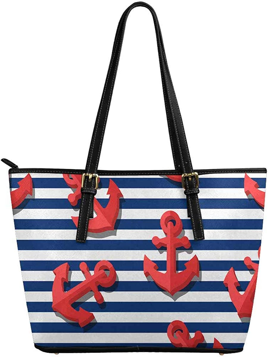 INTERESTPRINT 3D Stylized Red Anchors Women Totes Top Handle HandBags PU Leather Purse