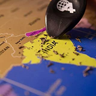 A+ ideas X Large Scratch Off Map of The World   Travel Tracker Map   Printed Frame   Scratcher & Eraser Included