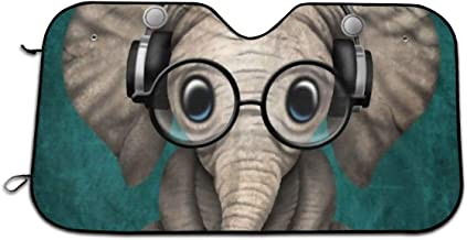 CHILL·TEK Sitting Elephant with Glasses and Headphone Universal Car Front Window Visor Cover Block Sun and Heat with Personalized Printed Size 51.2x27.5 Inch
