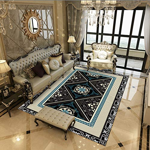 MOXIC Soft Isfahan Living Room Area Rugs Square Collection Traditional Bedroom Rug Fleece Anti-Slip Carpets Classic Floral Home Decor Mats Indoor Outdoor Runners Nursery 5' X 5'