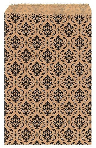 Damast Geschenk Papier-Staubsaugerbeutel Shopping Sales Tote Taschen 15,2x 22,9cm braun mit schwarz Damast Design 6