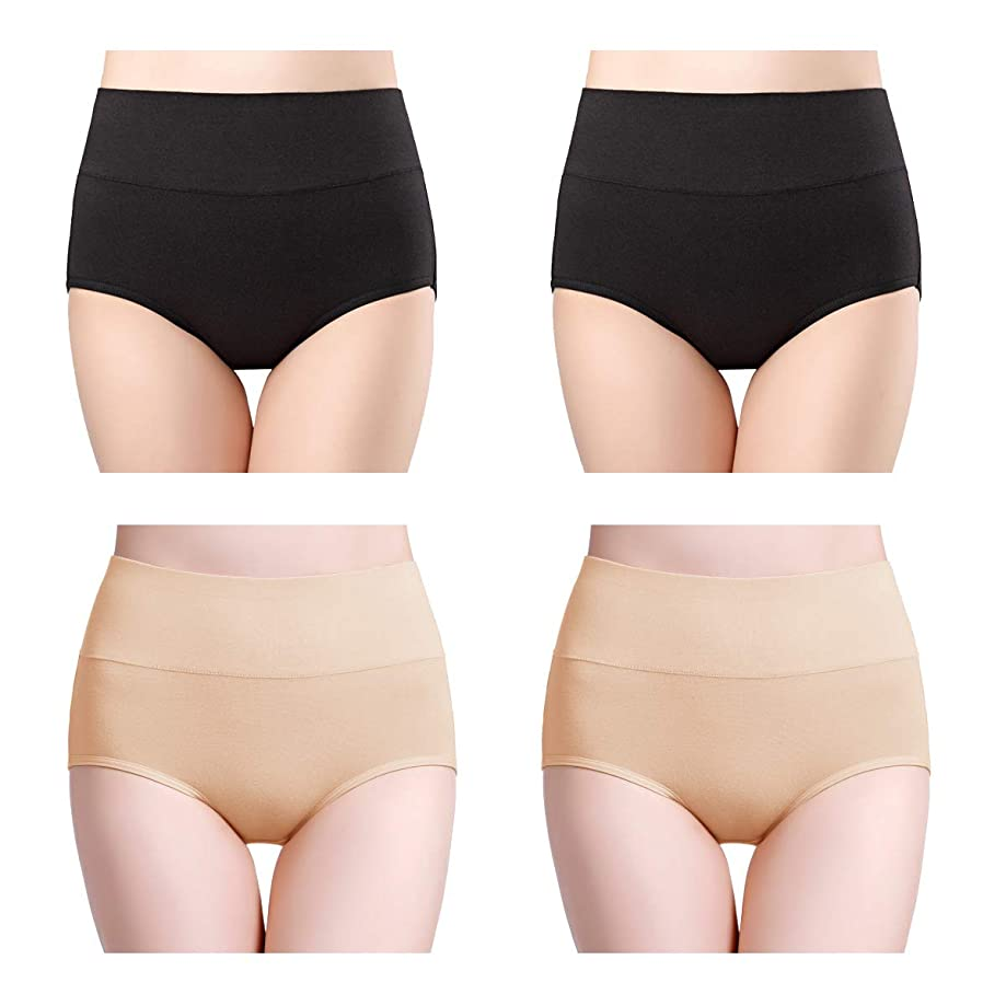 wirarpa Womens Cotton Underwear High Waist Full Coverage Brief Panty Multipack