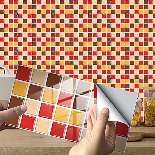 Hiseng 24/48 Piezas Rectángulo Adhesivos Decorativos Azulejos Pegatinas para Baldosas del Baño, Mármol Mosaico Estilo Cocina Resistente al Agua Pegatina de Pared (Amarillo Mosaico,48Piezas)