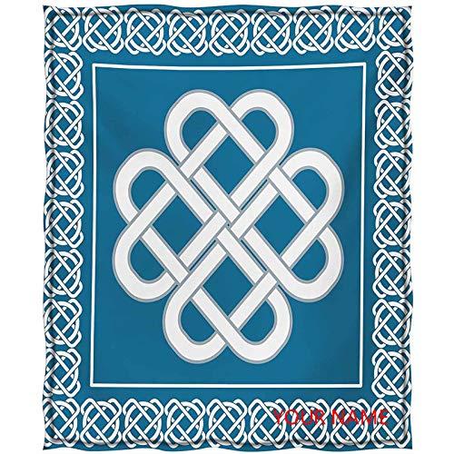 Irish Soft Breathable Thermal Blanket, Celtic Love Knot Good Fortune Symbol Framework Border Historical Amulet Design DIY Blanket, Breathable and Prevent Overheating, Dark Aqua White W60 by L80