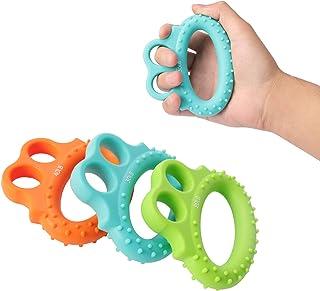 Fanwer 3 Level Hand Grip Strengthener Set Finger Exerciser Silicone Grip Strength Trainer Resistance Bands Finger Stretche...