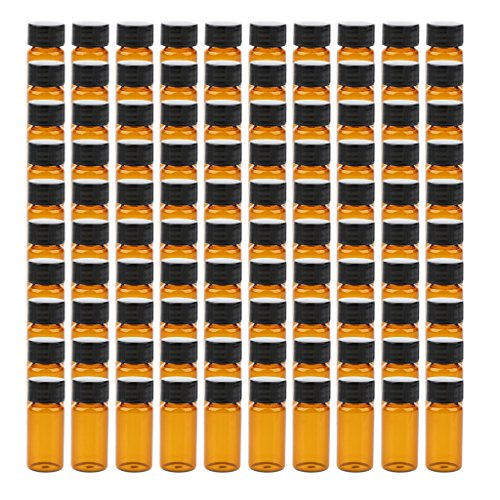 Generic Lab Glass Vials Bottles with Black Caps - Brown, 10mL