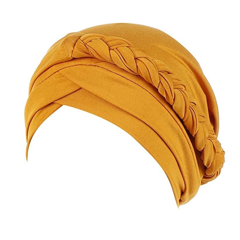 バルクバルセロナ太いIMJONO帽子女性インドイスラム教徒の帽子ソリッドワンテールツイストチミオビーニースカーフターバン暖かい帽子ラップヒジャーブ