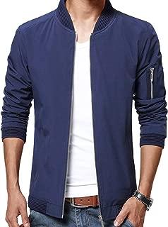 Mens Casual Jacket Zip Up Lightweight Bomber Flight Sportswear Jacket Windbreaker Softshell with Ribbing Edge