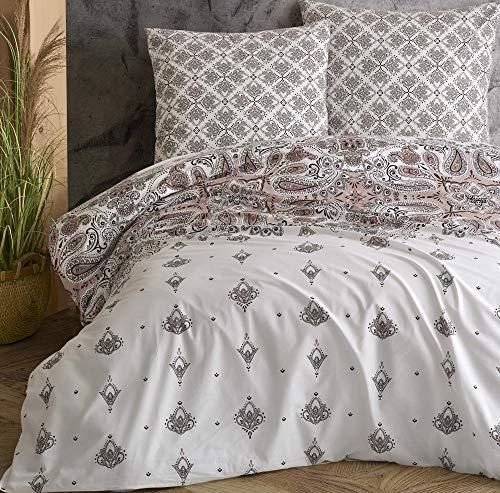 Leonado Vicenti – Juego de cama 100% algodón Renforce funda cojín dormitorio Set modernos colores a elegir Número de piezas: 3 piezas 200 x 220 cm, color beige