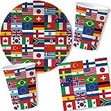 Carpeta 65-TLG. Party-Set * Flaggen der Welt * mit Pappteller + Servietten + Pappbecher + Deko   Geschirr & Dekoration zur Fußball EM 2020