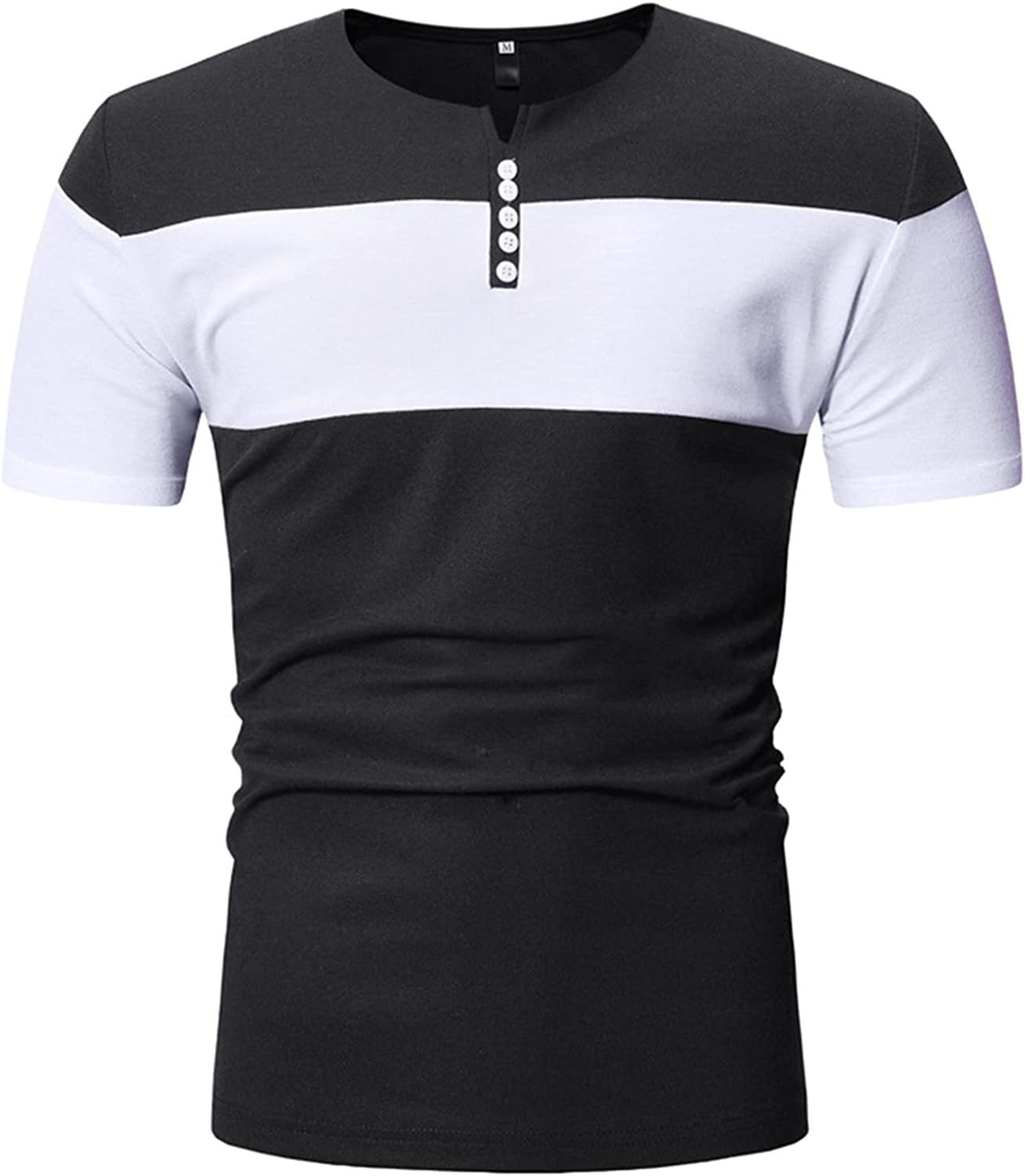 Mens Short Sleeve T-Shirts Contrast Color Stitching Slim Fit Tees Casual Tops