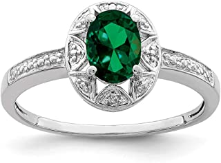 FB Jewels Solid 925 Sterling Silver Rhodium-Plated Polished Cubic Zirconia CZ and Green Jade Clover Pendant