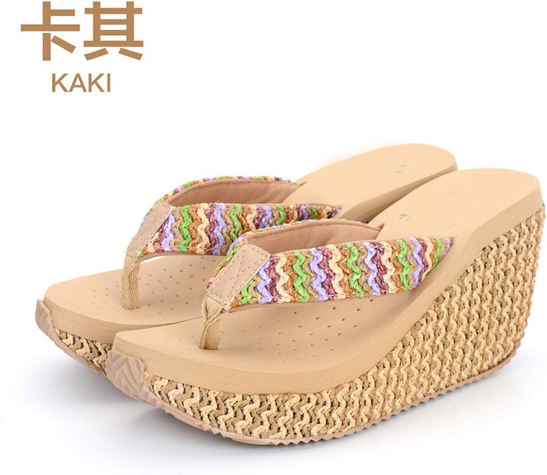 QDKM Female Slippers Woman Flip Flops Fashion Wedge Heels Female Footwear for Girls