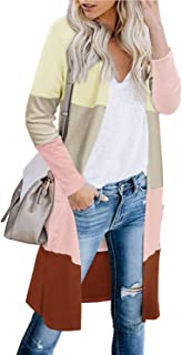 PINKMSTYLE Womens Long Sleeve Open Front Cardigan Color Block Striped Knit Kimono Sweater Coats