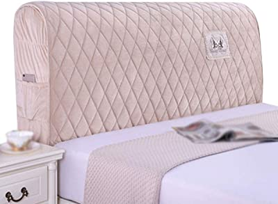 Bed Head Cover Polyester Cotton Stretch Cover for Bedroom Decor Stretch Bed Headboard (Color : Pink, Size : 2.2x65x35cm)