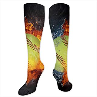 Fire Softball Water Baseball Socks Athletic Socks Knee High Socks For Men Women Sport Long Sock Stockings 50CM