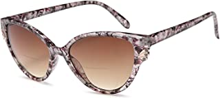 VVDQELLA Women's Bifocal Sunglasses Reading Glasses, Chic Cat Eye Diamond UV Protection Ladies Fashion Readers(Brown, 2.00)