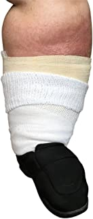 "Beyond Extra Wide Bariatric Sock for Extreme Lymphedema. Calf stretches up to 30"". Widest Bariatric Sock on the market. One Size Unisex Antimicrobial Made in USA!!! (White)"
