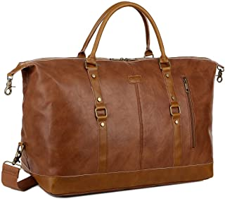 BAOSHA Leather Travel Duffel Tote Bag Overnight Weekender Bag Oversized for Men and Women HB-14 (Brown)