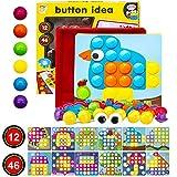 MMTX Gioco Bottoni Arte Giocattoli per Bambini, attività per Bambini Giocattoli educativi Puzzle per Bambini con Peg Board per Ragazze, Ragazzi